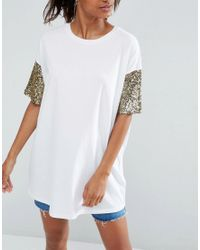 ASOS - White T-shirt With Sequin Sleeve - Lyst