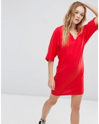 ASOS | Red Mini T-shirt Dress With Kimono Sleeve | Lyst