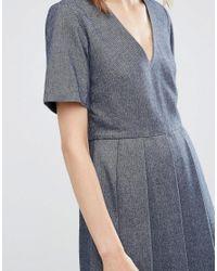 YMC - Blue Wool Pleated Skater Dress - Lyst