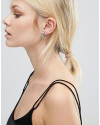 Nylon | Metallic Silver Plated Knotted Stud Earrings | Lyst
