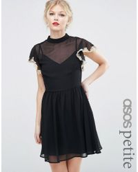 ASOS | Blue Skater Dress With Lace Flutter Sleeve | Lyst