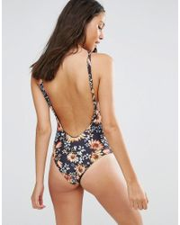 Beach Riot - Blue Dark Floral Lace Up Swimsuit - Lyst