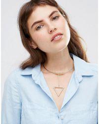 Ashiana - Metallic Torq Choker Necklace With Geo Drop - Lyst