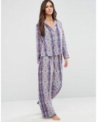 ASOS | Multicolor Moss Satin Snake Print Pyjama Top & Wide Leg Set | Lyst