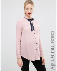 ASOS - Pink Blouse With Neck Tie And Embroidered Collar - Lyst
