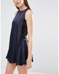 Lavish Alice - Black Color Block Satin Drape Tie Detail Romper - Lyst