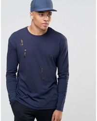 Jack & Jones | Blue Long Sleeve T-shirt With Distressed Detail for Men | Lyst