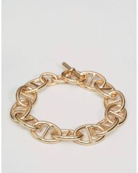 ASOS | Metallic Chain Interest Bracelet In Gold for Men | Lyst