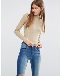 ASOS | Natural Crop Top With Turtle Neck In Space Dye | Lyst