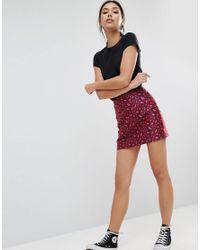 ASOS | Red Mini Skirt In Jacquard Animal Print | Lyst