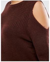 ASOS - Brown Curve Jumper In Rib With Cold Shoulder - Lyst