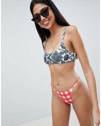 ASOS - Multicolor Mono Lace Contrast Mixed Print Skinny Crop Bikini Top - Lyst