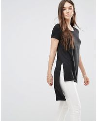 ONLY - Black Nly Dipped Hem T-shirt - Lyst