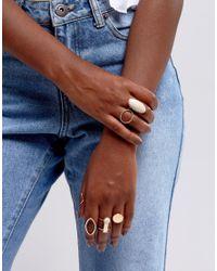 Glamorous - Metallic Multipack Gold Rings - Lyst