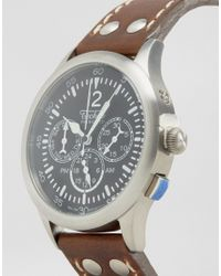 Techné - Merlin Chronograph Leather Watch In Brown - Brown for Men - Lyst