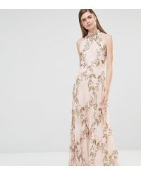 c1a637f9297a True Violet High Neck Pleated Maxi Dress In Rose Floral in Pink - Lyst