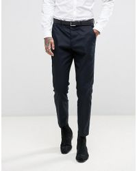 AllSaints - Blue Slim Fit Suit Pant for Men - Lyst