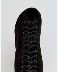 Truffle Collection - Black Lace Up Skinny Heel Boot - Lyst