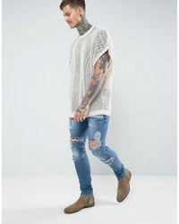 ASOS - Natural Sleeveless Mesh T-shirt for Men - Lyst