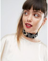 ASOS | Black Statement Wide Embellished Velvet Choker Necklace | Lyst