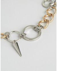 ASOS   Metallic Spike & Circle Link Necklace   Lyst