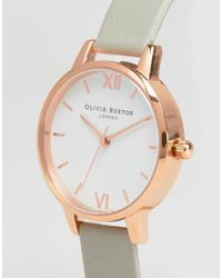 Olivia Burton | Gray Midi Dial Grey Leather Watch Ob16mdw05 | Lyst