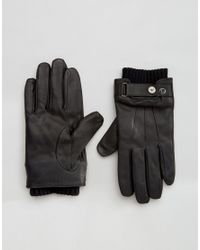 Armani Jeans - Black Rmani Jeans Leather Gloves for Men - Lyst