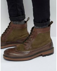 Frank Wright | Brogue Boot In Brown Leather for Men | Lyst
