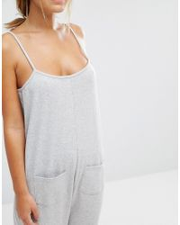 ASOS | Gray Lounge Marl Jersey Jumpsuit | Lyst
