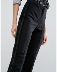 ASOS - Black Tux Cigarette Pants With Sheer Fringe Detail - Lyst