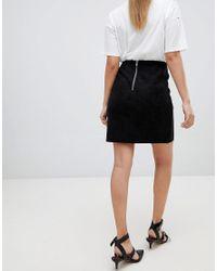 Glamorous - Black Faux Suede Zip Detail Mini Skirt - Lyst