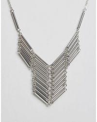 Pieces - Metallic Pellie Necklace - Silver - Lyst