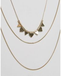 Pieces - Metallic Plina Long Necklace - Gold - Lyst