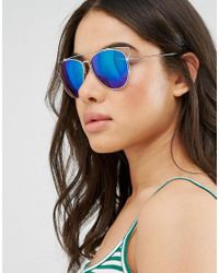 South Beach - Metallic Southbeach Aviator Sunglasses With Flash Lens And Metal Cut Out Frame - Lyst