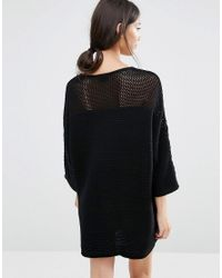 Vila - Black Jumper Dress With Open Weave Yoke - Lyst