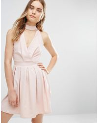 Wal-G | Pink Skater Dress With Neck Detail | Lyst