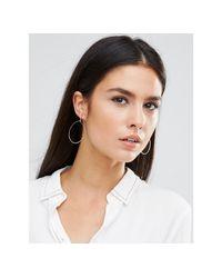 Orelia - Metallic Fine Hoop Metal Bead Earrings - Lyst
