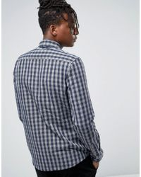Only & Sons - Blue Brushed Cotton Check Shirt for Men - Lyst