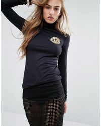 Versace | Jeans Roll Neck Logo Top - E899 Black | Lyst