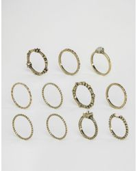 ASOS - Metallic Pack Of 10 Etched Stone Ring Pack - Lyst