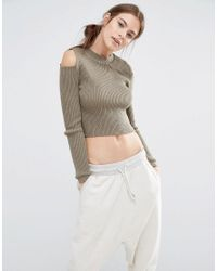 Daisy Street | Green Fitted Jumper With Cold Shoulders | Lyst