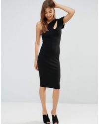 Oh My Love | Black Asymmetric Midi Dress With Cut Out Shoulder | Lyst