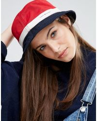 Tommy Hilfiger | Red Colour Block Bucket Hat | Lyst