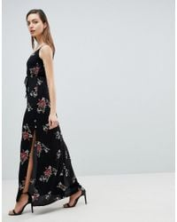 AX Paris - Black Floral Maxi Dress - Lyst