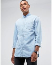Jack & Jones | Intelligence Relaxed Fit Denim Shirt In Light Blue Wash for Men | Lyst