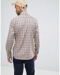 Aquascutum - Natural York Crest Logo Club Check Shirt In Beige for Men - Lyst