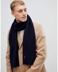 Polo Ralph Lauren - Blue Charpe ctele en laine mrinos avec logo joueur de polo for Men - Lyst