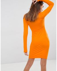 ASOS - Orange Mini Cut Out Shoulder Bodycon Dress - Lyst