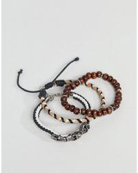 ASOS - Black Bracelet Pack With Beads And Skulls for Men - Lyst