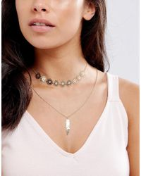 ASOS - Metallic Filigree Feather Multirow Necklace - Lyst